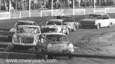 Whyalla Speedway. Hosking leading Forbes, Marchant & Garland.