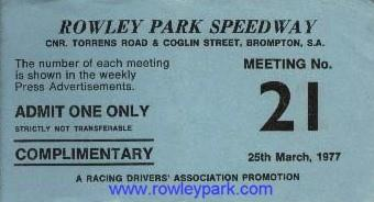 A Rowley Park Speedway complimentary ticket. 1977.