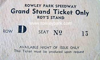 Rowley Park Speedway Grand Stand Ticket ( Roys Stand )
