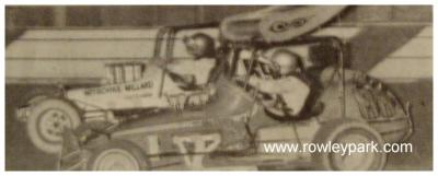 Bill Wigzell and John Moyle at Rowley Park Speedway 1977.