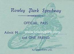 Rowley Park Speedway Official Pass